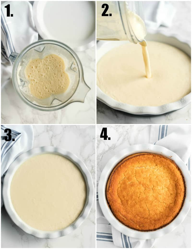 Step by step photos on how to make Impossible Pie