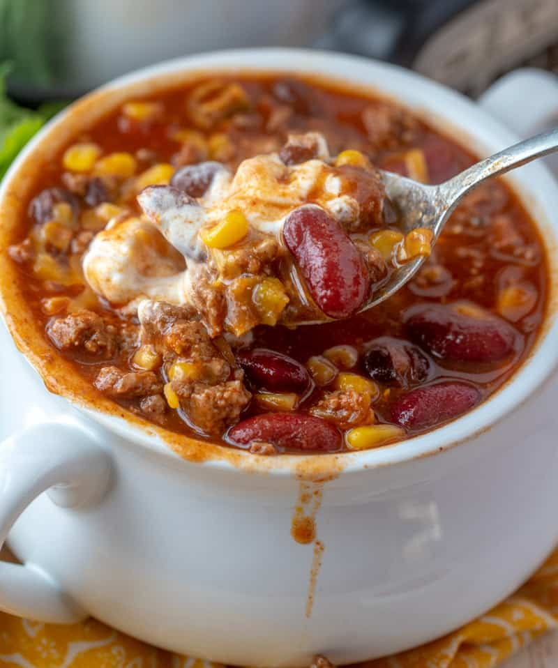 crockpot taco chili in bowl with spoon