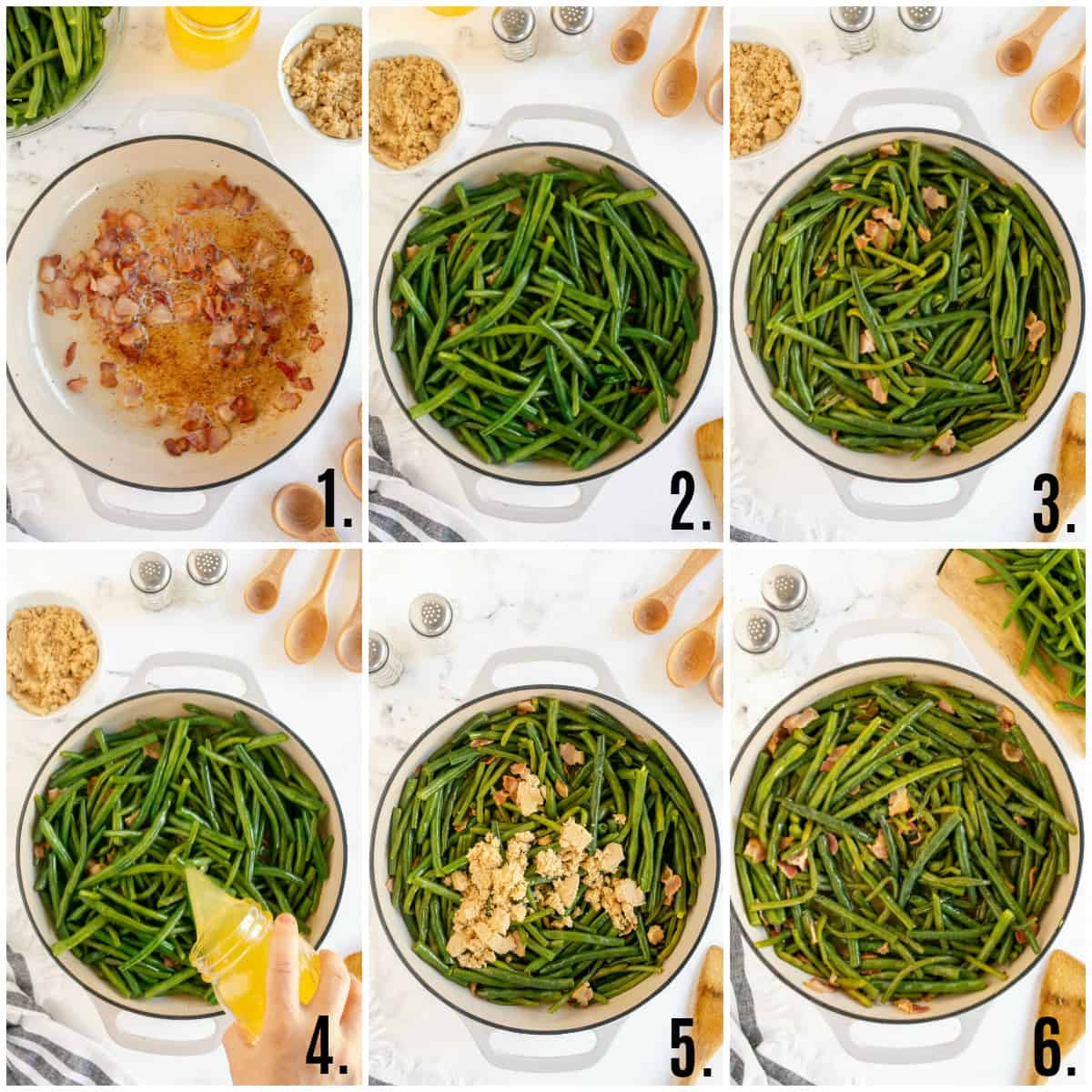 Step by step photos of how to make Southern Style Green Beans