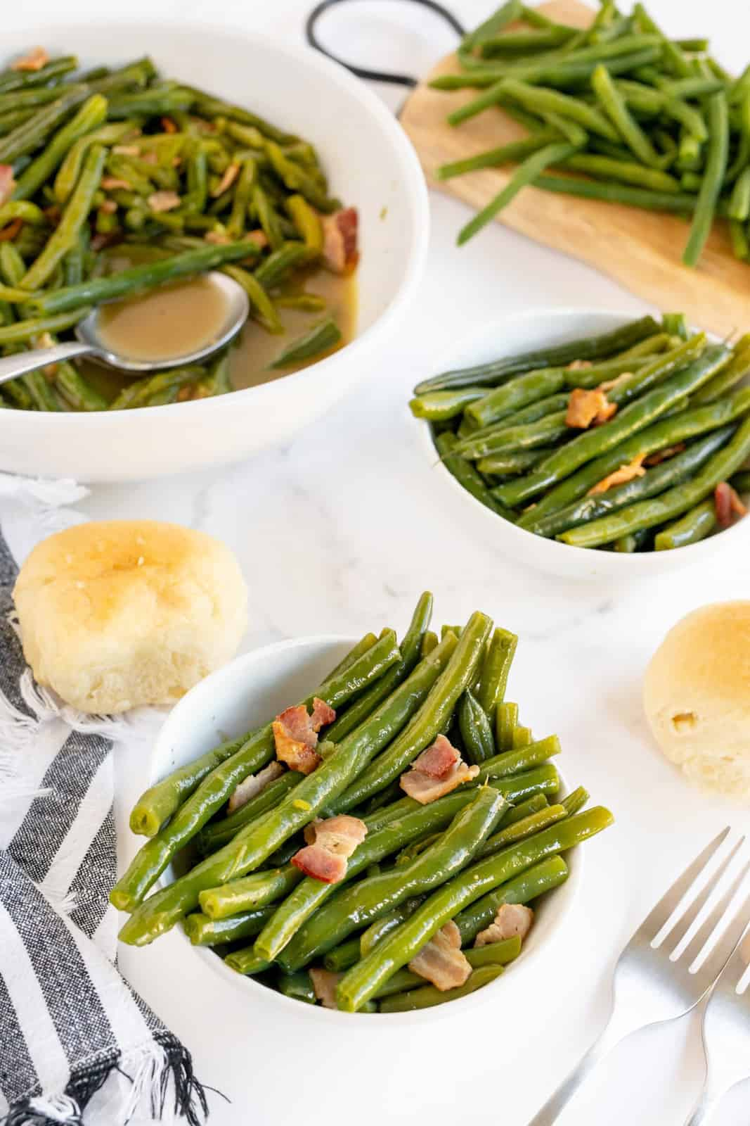 Two bowls of Southern Style Green Beans