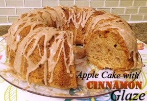 Apple Cake with Cinnamon Glaze on clear serving platter
