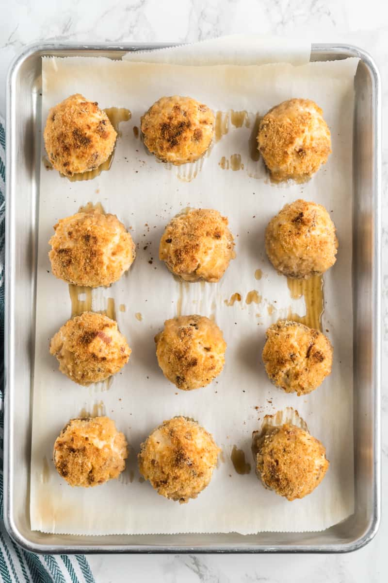 Bacon and Cheese Stuffed Mushrooms on baking pan right out of the oven