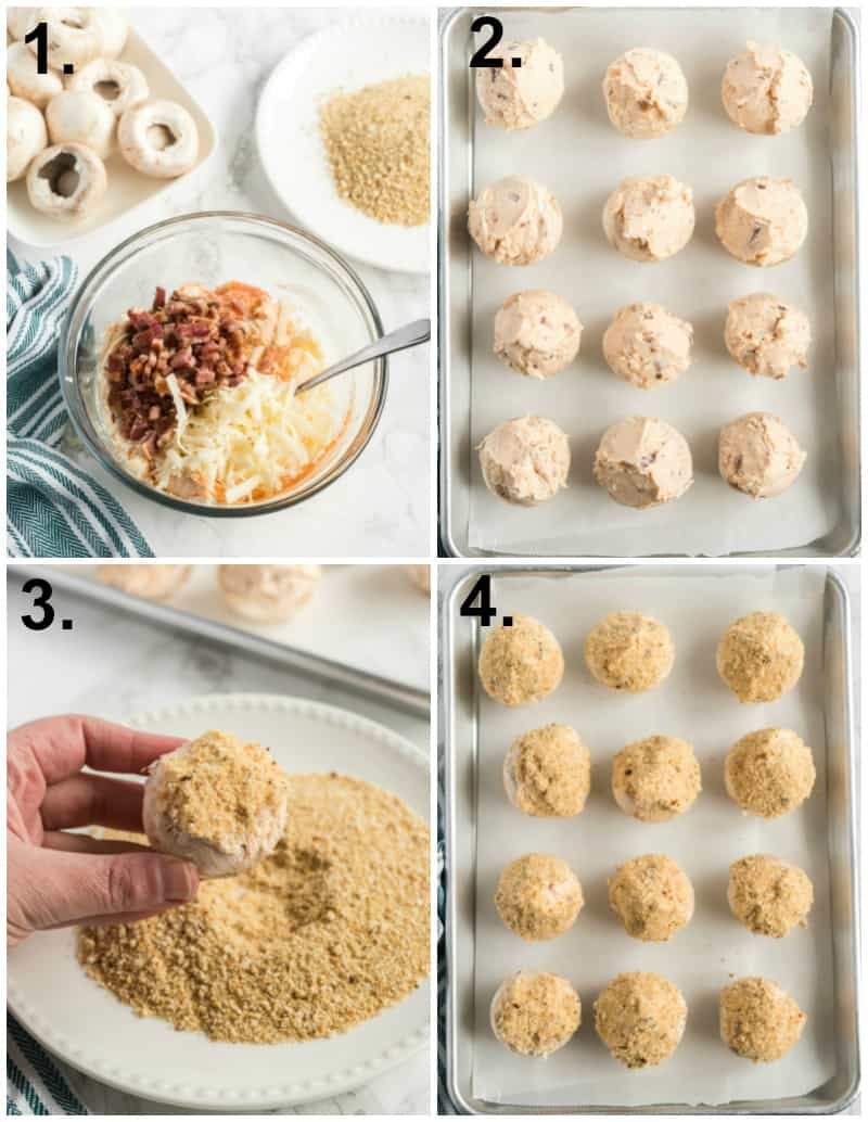Step by step photos on how to make Stuffed Mushrooms