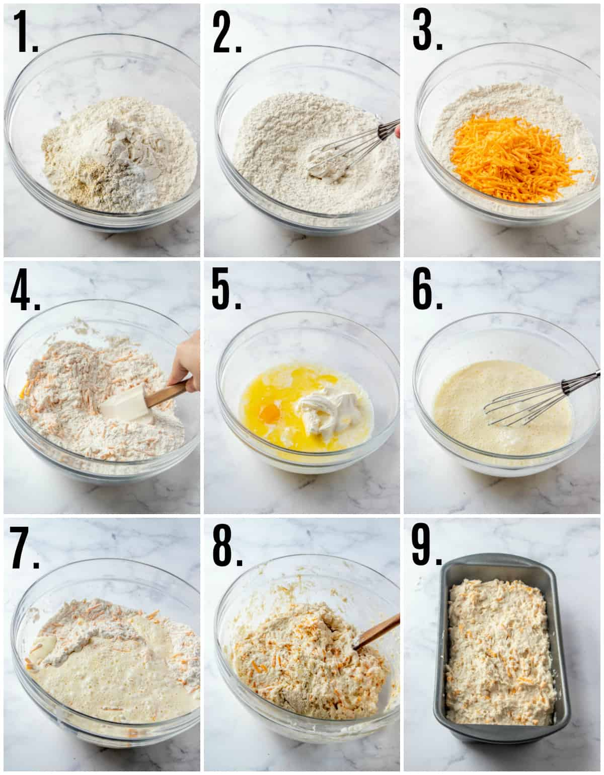 Step by step photos on how to make Easy Cheddar Bread