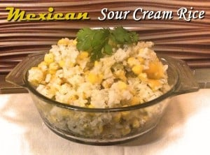 Mexican Sour Cream Rice in clear dish topped with cilantro