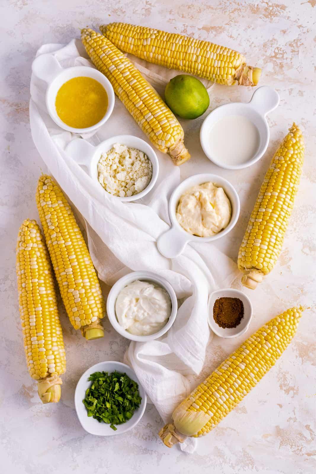 Ingredients needed to make a Mexican Street Corn Recipe