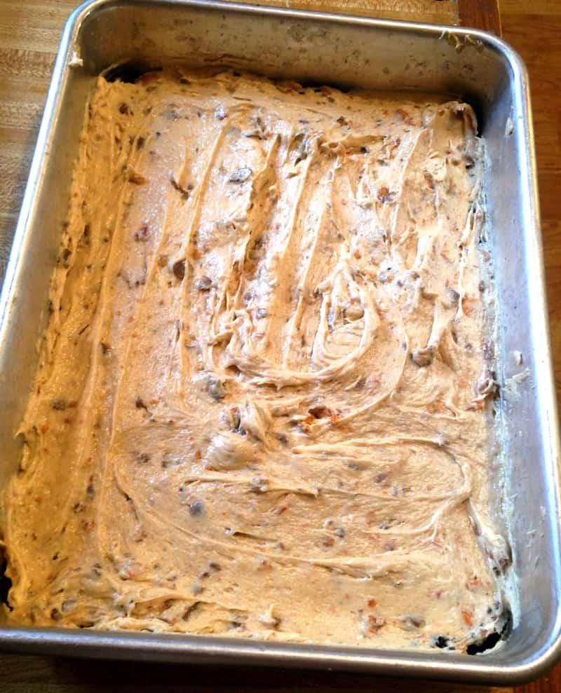 Filling mixture spread on top of crust in baking pan