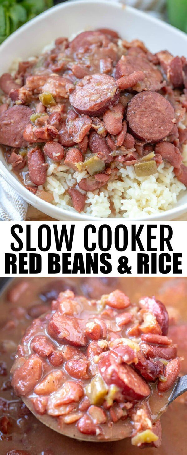 Want pure comfort but don't want to put in the effort? This Slow Cooker Red Beans and Rice is a fix it and forget it classic dish that will feed a crowd. #slowcooker #crockpot #redbeansandrice #southern #recipe #sausage #spicy