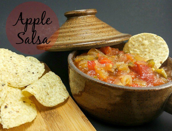 Apple Salsa in brown dish with chip in salsa