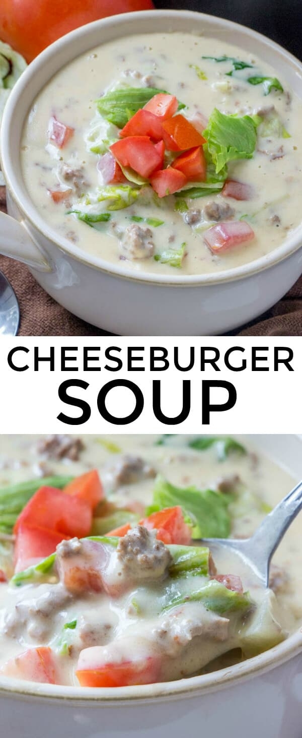 Want your sandwich and eat it too? This Cheeseburger Soup takes one of the most beloved sandwiches and turns it into a delicious comforting soup! #soup #cheeseburger #cheeseburgersoup #groundbeef #beef #creamy