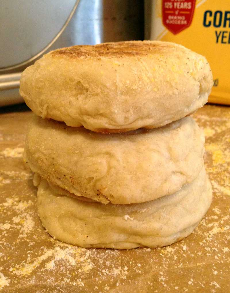 Three English Muffin Stacked on top of one another