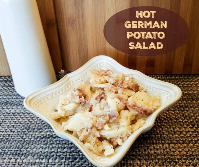 Hot German Potato Salad finished served in square bowl
