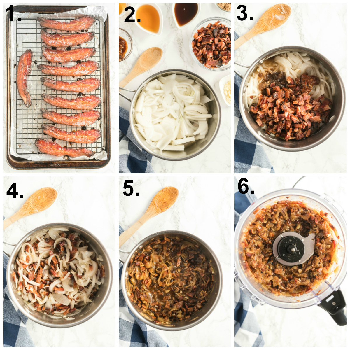 Step by step photos on how to make bacon jame