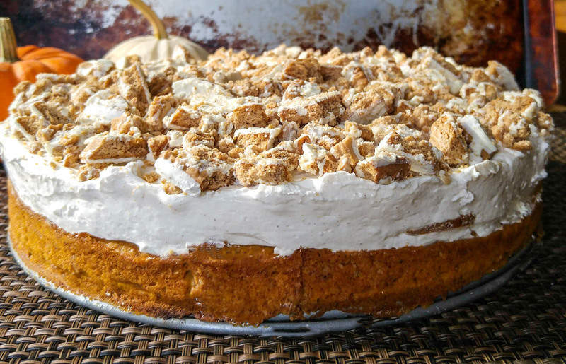 Pumpkin Spice No Bake Cheesecake Cake 4