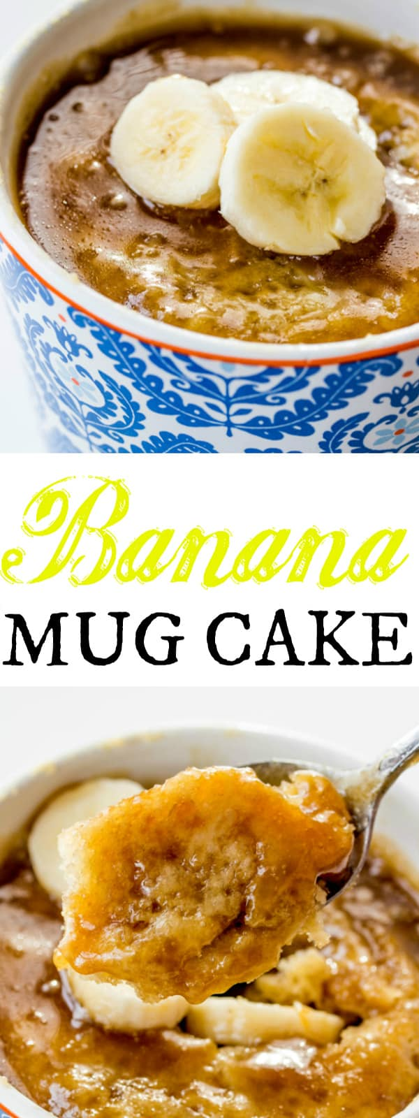 Simple easy and delicious this Banana Mug Cake is the perfect single serving dessert to perk you up when your sweet tooth is calling!