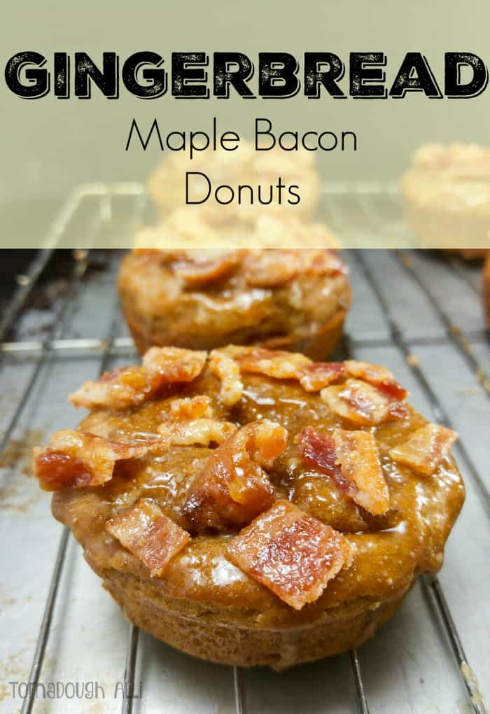 Gingerbread Maple Bacon Donuts on cooling rack