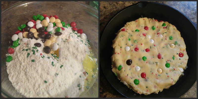Step by step photos on how to make skillet cookie cake