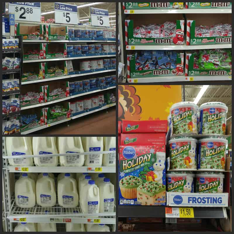 Collage of in store shopping at Walmart.