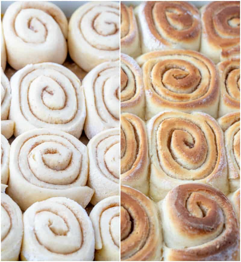 salted caramel rolls unbaked and baked collage