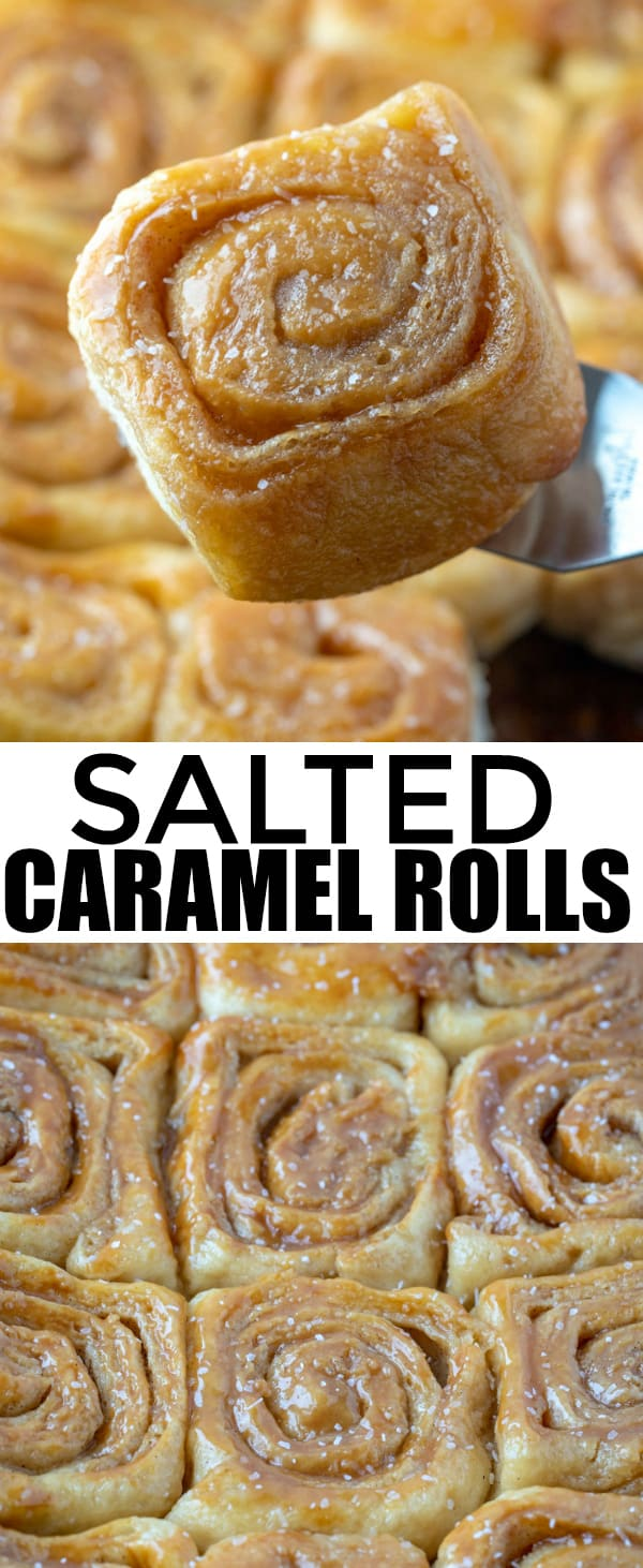 Breakfast is the most important part of the day and these Salted Caramel Rolls are a surefire hit at the table. Sweet and salty makes this the perfect morning treat. #breakfast #brunch #caramel #cinnamonrolls #dessert #sweets