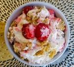 Featured image of no bake cherry cheesecake fluff overhead in white bowl