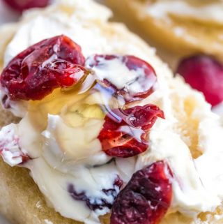 Honey Cranberry Baguette Bites featured image with honey drizzled over top