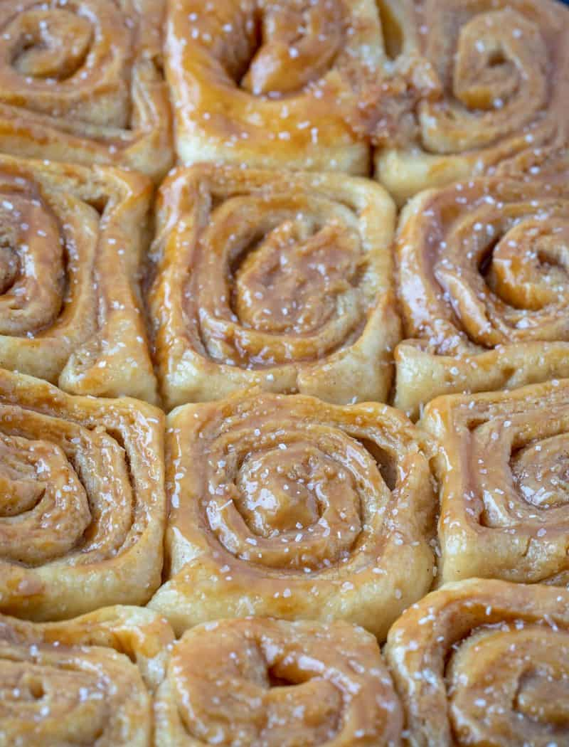 Salted caramel rolls close up