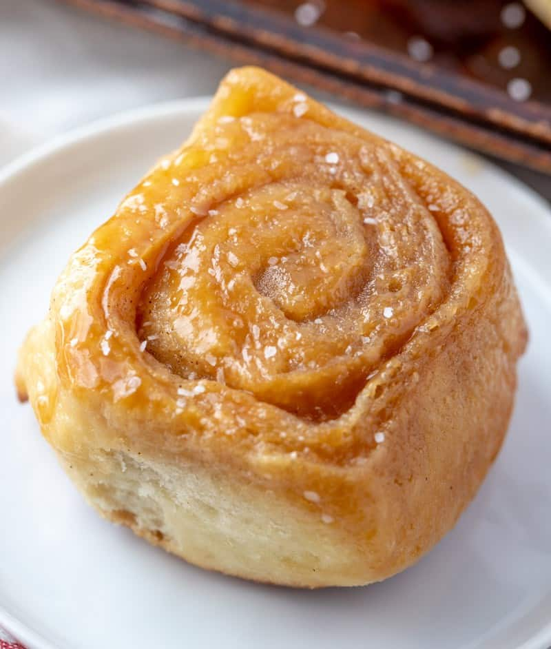 caramel roll on plate