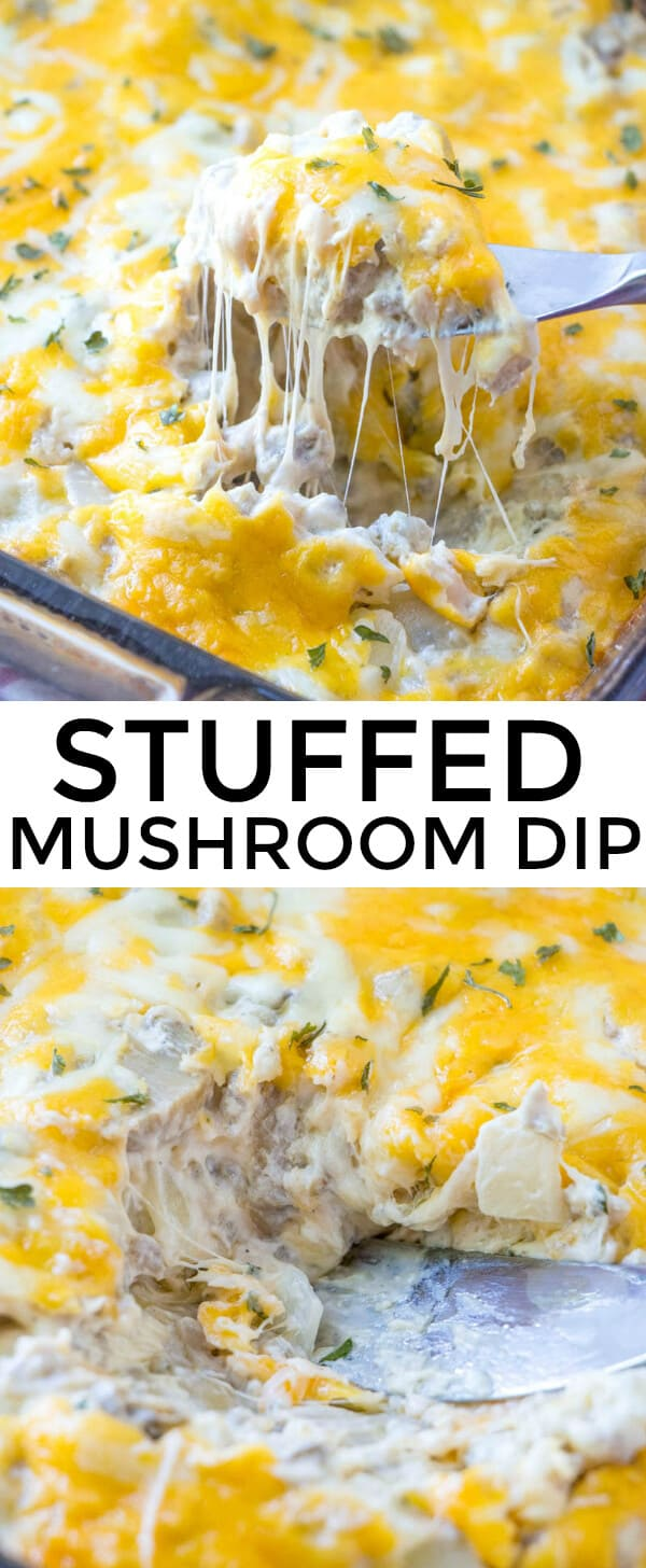 Easy, creamy, cheesy and delicious this Stuffed Mushroom Dip is a family favorite appetizer recipe that takes a twist on a classic treat! #dip #mushrooms #stuffedmushroom #cheesy #appetizer #creamcheese #sausage #gameday