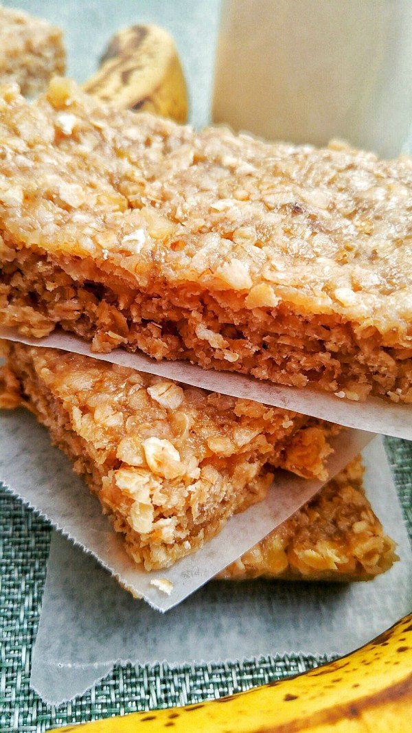 Close up of granola bars stacked