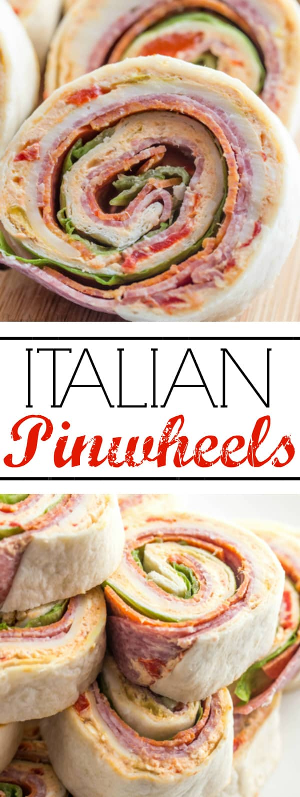 A deliciously fun appetizer for your game day, holiday or party needs, these Italian Pinwheels are tasty, fast and a fun addition to your meal! #pinwheels #appetizer #pepperoni #partyfood #fingerfood #salami