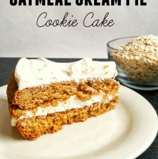 Oatmeal Cream Pie Cookie Cake side view on plate