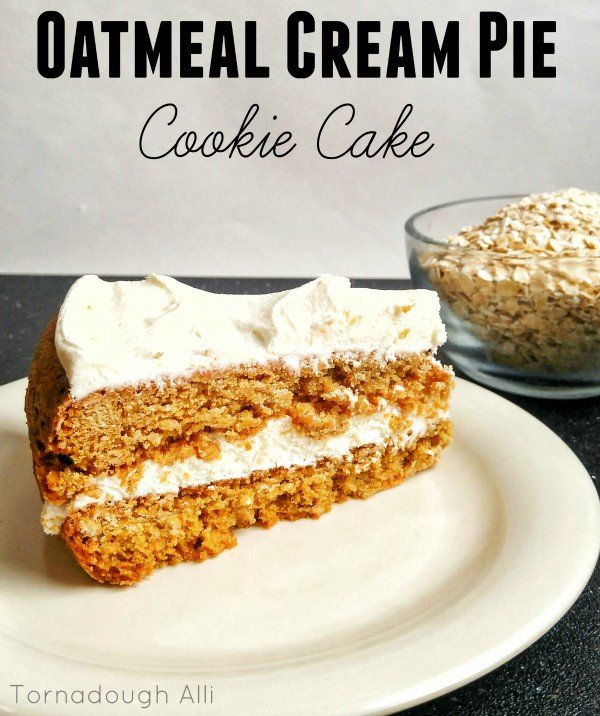 Oatmeal Cream Pie Cookie Cake on white plate