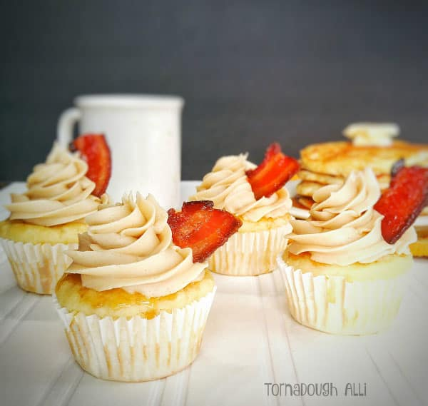 Pancake Cupcakes with Maple Buttercream and Candied Bacon