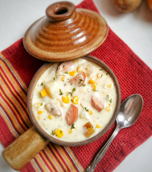 Sausage and Corn Chowder Above