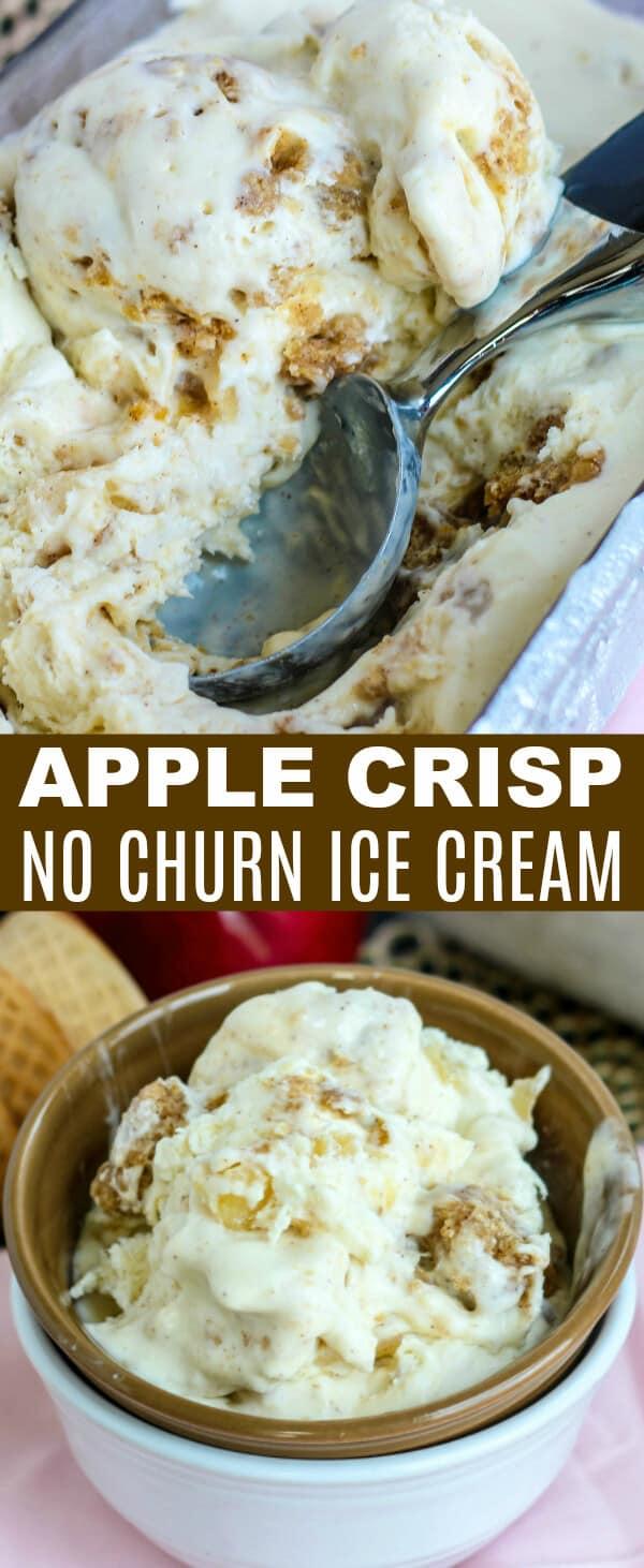A delicious cinnamon spiced ice cream studded with chunks of Apple Crisp make this Apple Crisp No Churn Ice Cream out of this world! #applecrisp #apple #icecream #nochurn #dessert