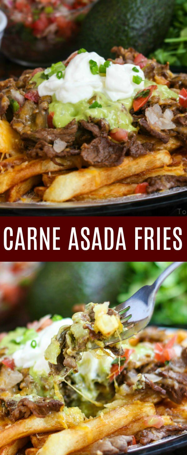 Delicious carne asada atop a heaping bed of golden french fries and slathered in melted cheese, sour cream and guacamole makes these Carne Asada Fries an addicting treat. #mexican #carneasada #fries #streetfood #recipe
