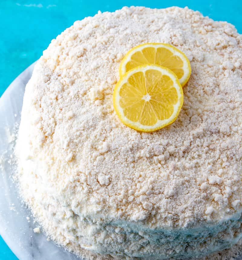 Lemon Crumb Cake whole cake on turnstyle