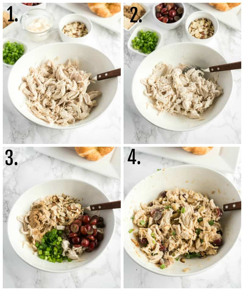Step by step photos on how to make chicken salad