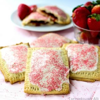 Strawberry Pop-Tarts stacked on top of one another