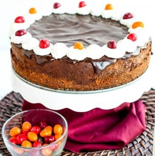 Chocolate Chili Cheesecake on Cake Stand with M&M's