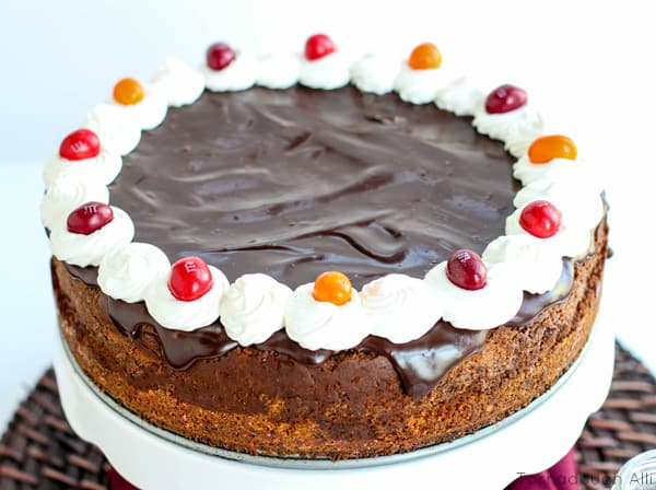 Up close of Chocolate Chili Cheesecake on cake stand