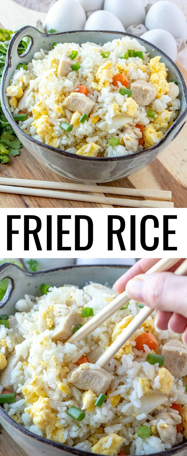 Want a delicious minimal ingredient dish? This Easy Fried Rice will have everyone asking for seconds! Fast, easy and adaptable this is the perfect weeknight meal!#rice #takeout #asian #chicken #easyrecipe #quickmeal