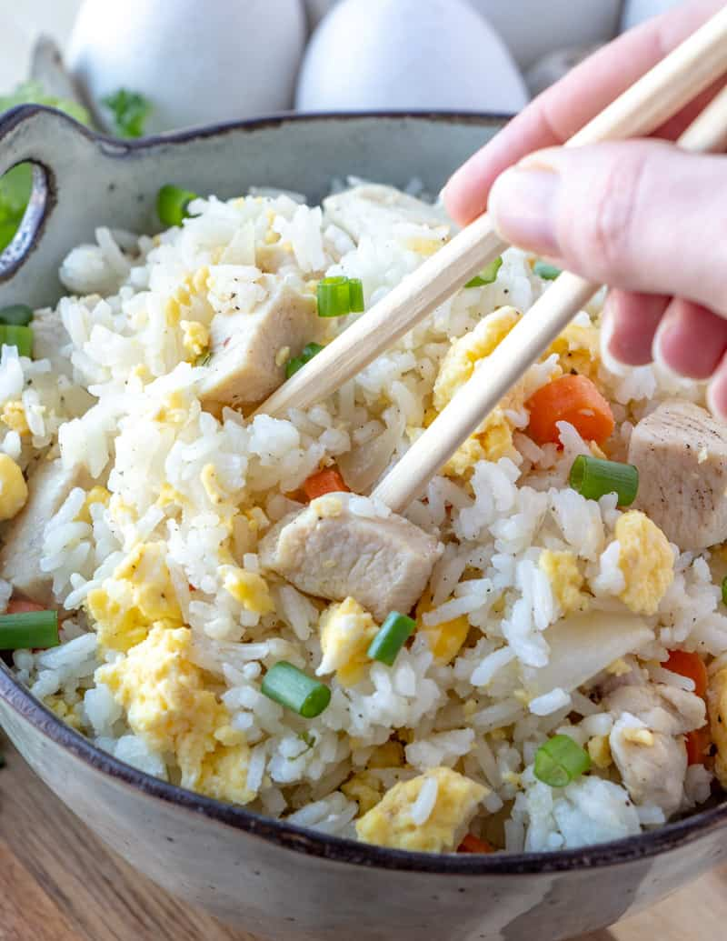 Fried rice with chopsticks