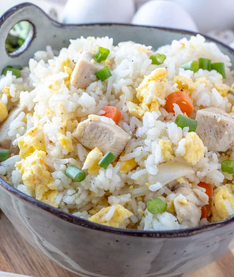 Fried rice close up in bowl