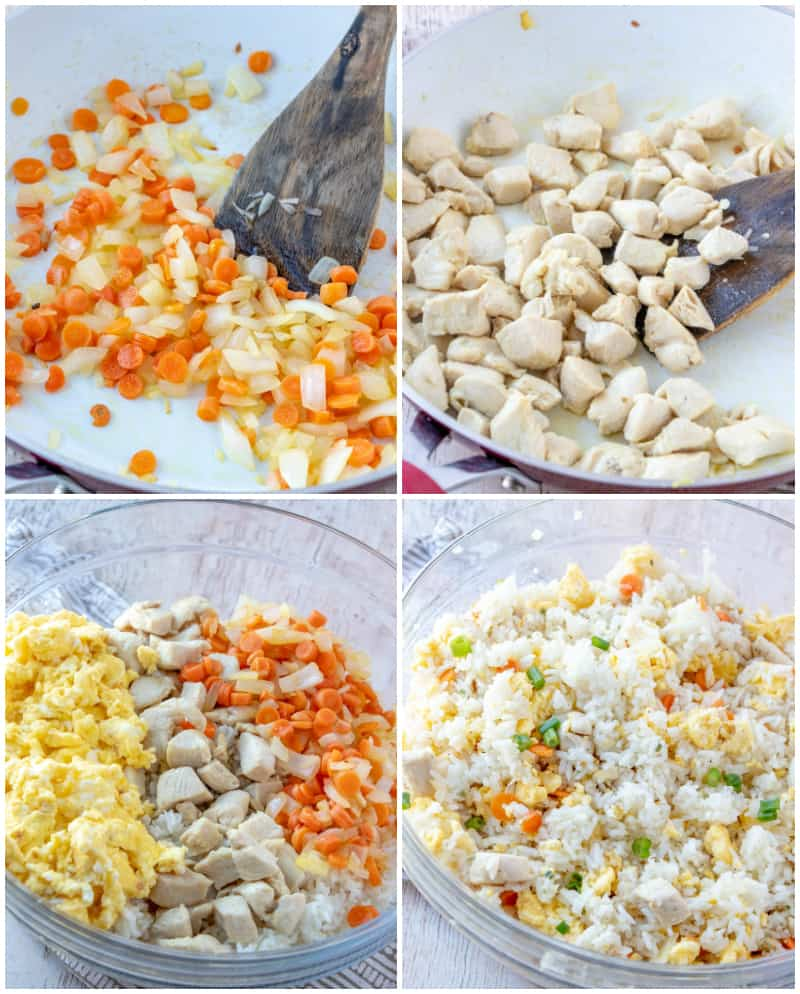 Fried rice step by step process shots