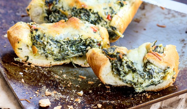 Spinach Dip Stuffed French Bread