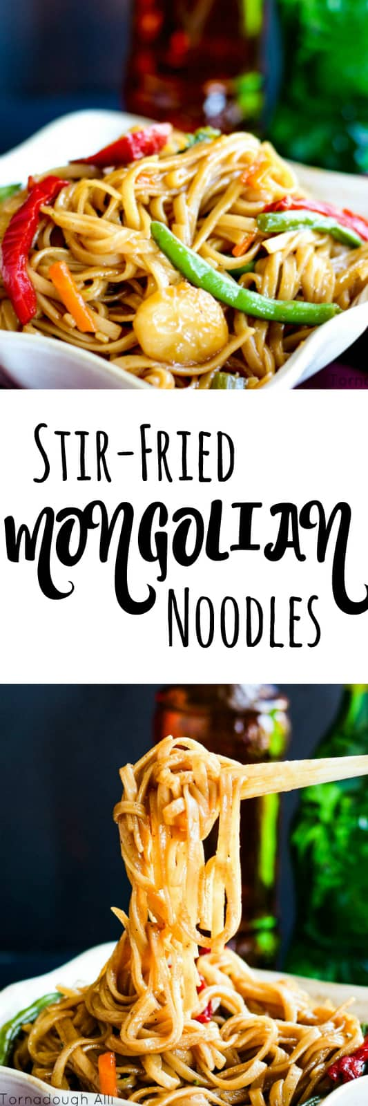 Stir Fried Mongolian Noodle Collage