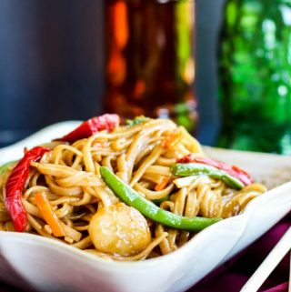 Stir Fried Mongolian Noodles in bowl with vegetables