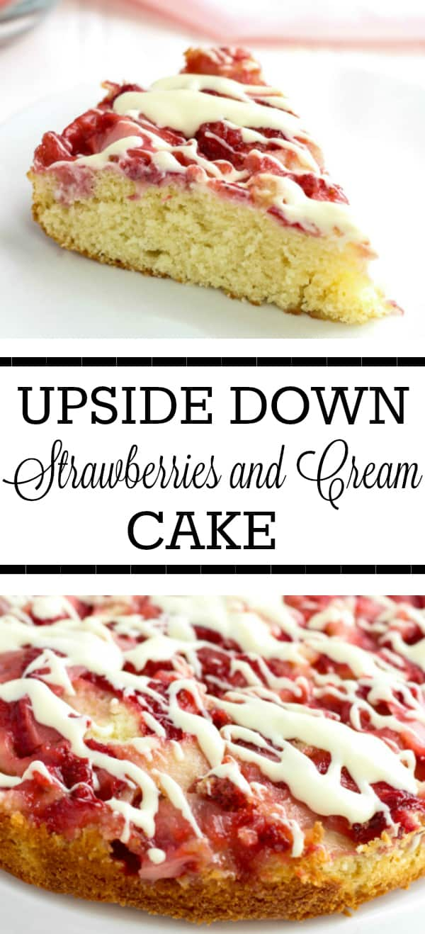 Upside Down Strawberries and Cream Cake Collage